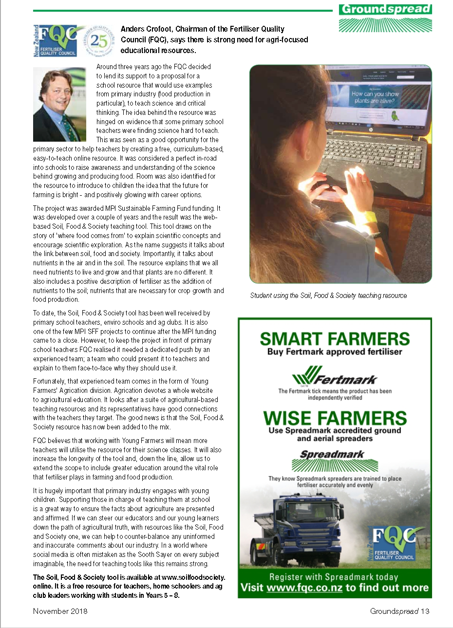 November2019-Groundspread-Strong need for agri-focused educational resources