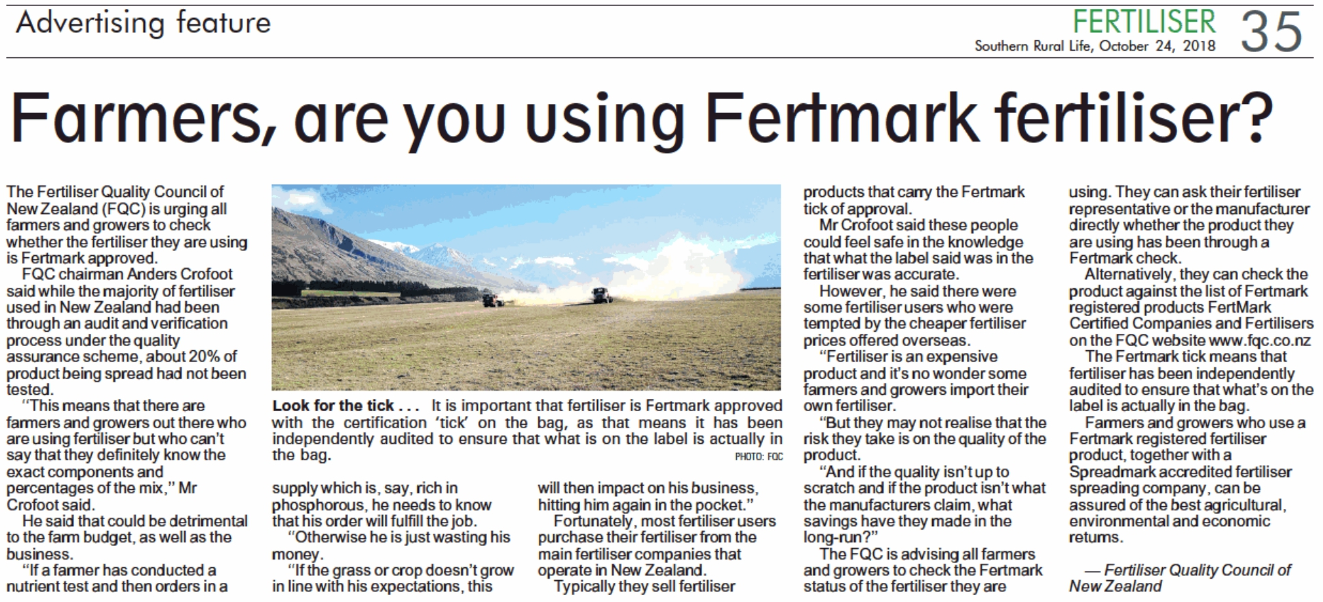 October2018-Southern Rural Life - Farmers are you using Fertmark fertiliser